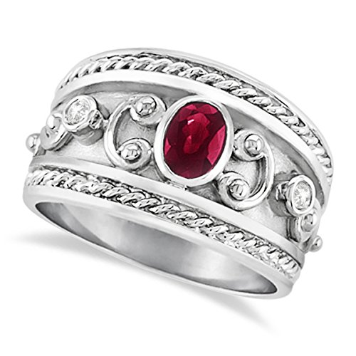 0.73ct Antique Style Oval Shaped Ruby Gemstone and Diamond Accented Byzantine Ring 14k White Gold