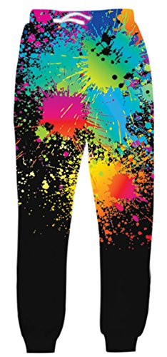 Belovecol Colorful Graphic Jogger Pants for Mens Womens 3D Printed Active Baggy Sweatpants Casual Drawstring Novelty Track Trousers M