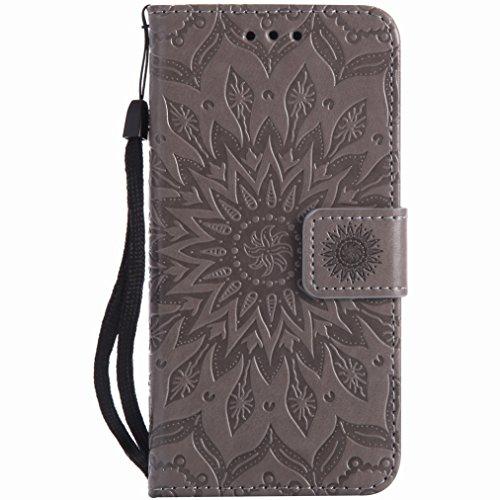 Yiizy Huawei Y3II / Huawei Y3 2 Custodia Cover, Sole Petali Design Sottile Flip Portafoglio PU Pelle Cuoio Copertura Shell Case Slot Schede Cavalletto Stile Libro Bumper Protettivo Borsa (Grigio)