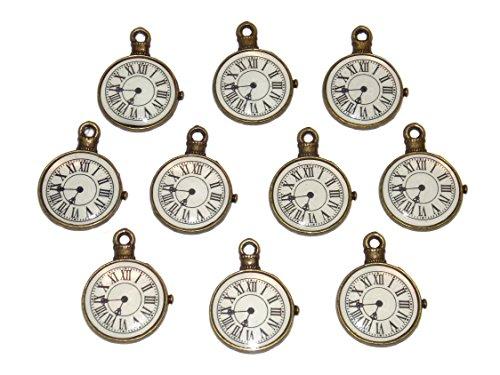 Old School Geekery 10 Steampunk Pocket Watch Clock Charms Jewelry Making Pendants (Charm Charms Watch)
