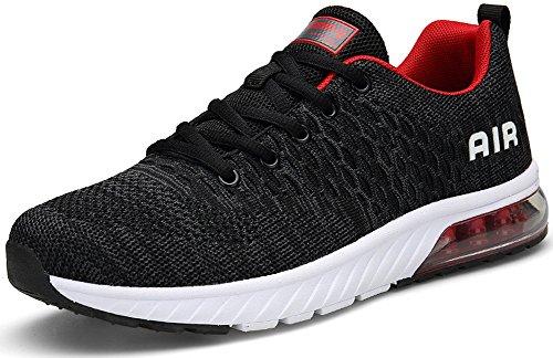 SEECEE Unisex Sportschuhe Air Dämpfung Laufschuhe Turnschuhe Sneaker 36-45 EU mit 5 Farben Dunkelgrau Rot