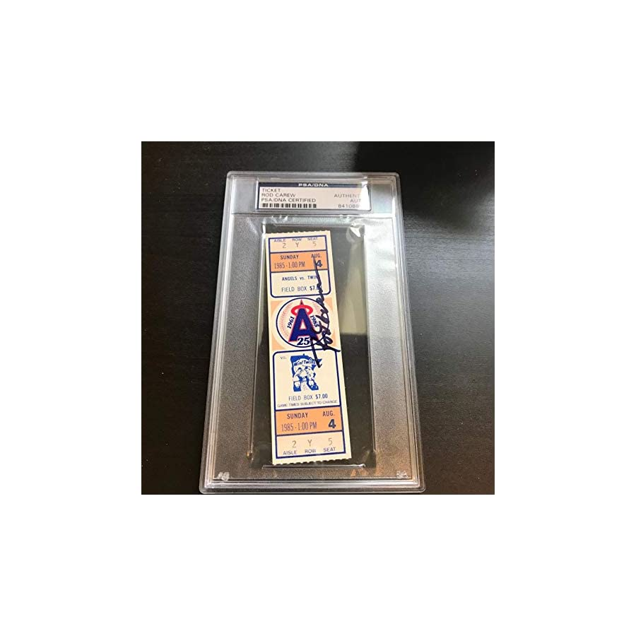 Rod Carew 3000th Hit Signed Ticket August 4, 1985 PSA DNA COA Auto