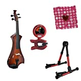 Meisel Electric Violin Pack Sunburst w/Red Stand, Tuner & Heart Rosin
