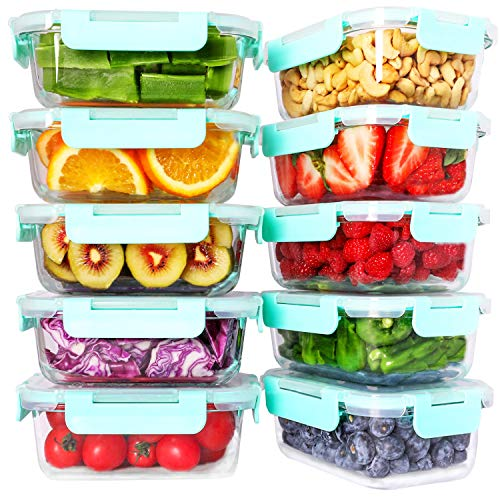 Bayco 10 Pack Glass Meal Prep Containers, Glass Food Storage Containers with Lids, Airtight Glass Lunch Bento Boxes, BPA…