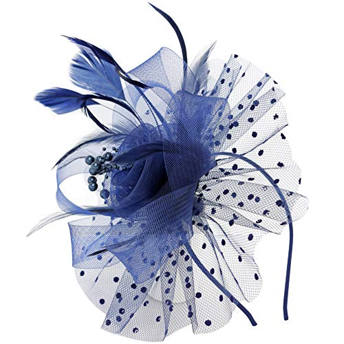 Fascinator Hats for Women Flower Feathers Clip for Women Cocktail Party Headwear Hats Bridal Kentucky Derby Headband Navy]()