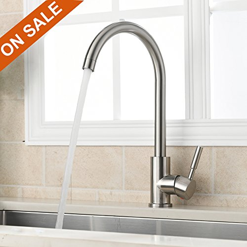 VAPSINT 360 Degree Swivel Good Valued Modern Hot& Cold Mixer Stainless Steel Single Handle Brushed Steel Kitchen Sink Faucet, Easy Installation...