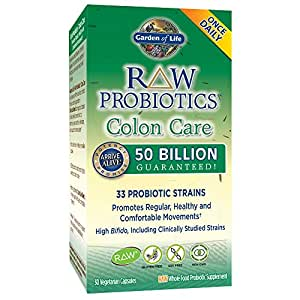Garden of Life - RAW Probiotics Colon Care - Acidophilus and Live Culture Probiotic Promotes Regular, Healthy and Comfortable Movements - Gluten, Soy, GMO-Free - 30 Vegetarian Capsules