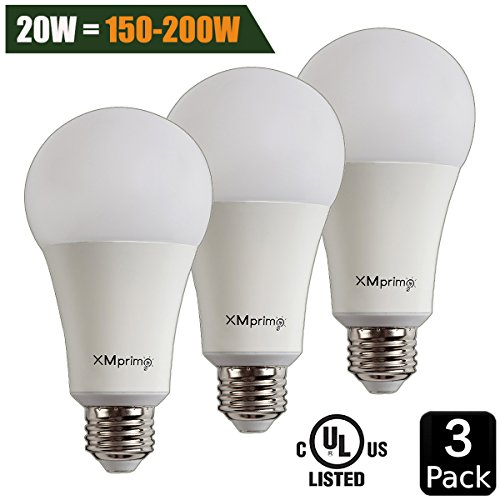 20W ( 150W - 200W Equivalent ) A21 LED Light Bulb, 2400 Lumens 5000K Daylight White, E26 Medium Screw Base, UL listed, XMprimo - 3 Pack