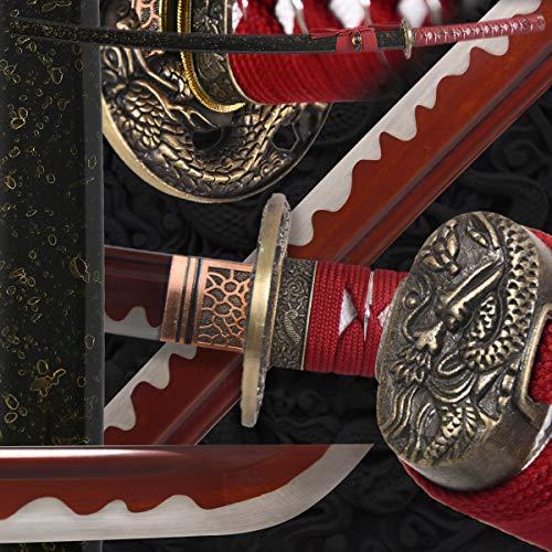Great Wave Katana - Eroton-1045/1060/1095 high Carbon Cold Steel Heat Tempered Full Handmade Hand Forged Japanese Real Authentic Samurai Katana Sword,Full Tang,Dragon Tsuba,Functional,Practical,Sharp,Red,2.7lb ...