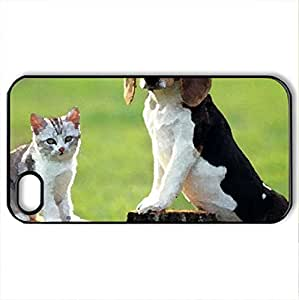 beagle says dogs rule kitty says I rule - Case Cover for iPhone 4 and 4s (Dogs Series, Watercolor style, Black)