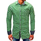 Clearance Mens Casual Shirts vermers Men Lattice Denim Long-Sleeve Beefy Button Tops with Pocket Basic Blouse Tee(M, Green)