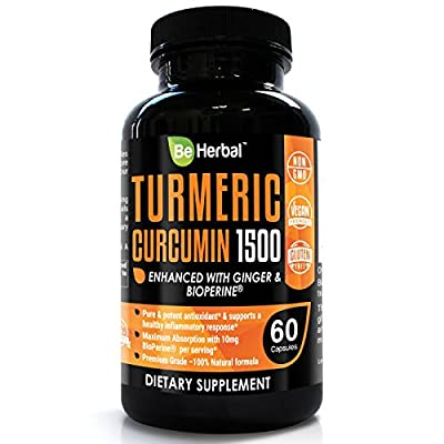BE HERBAL Premium Organic Turmeric Curcumin with Bioperine 1500mg - The Most Potent Turmeric Curcumin Supplement with 95% Standardized Curcuminoids - Enhanced with Ginger Extract - Veg Capsules