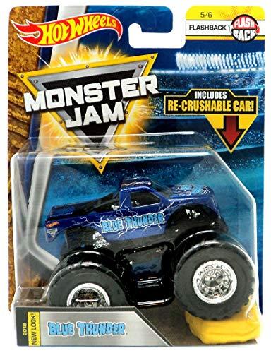 (Hot Wheels Monster JAM 1:64 Scale Flashback 5/6, Dark Blue Blue Thunder Includes RE-Crushable CAR)