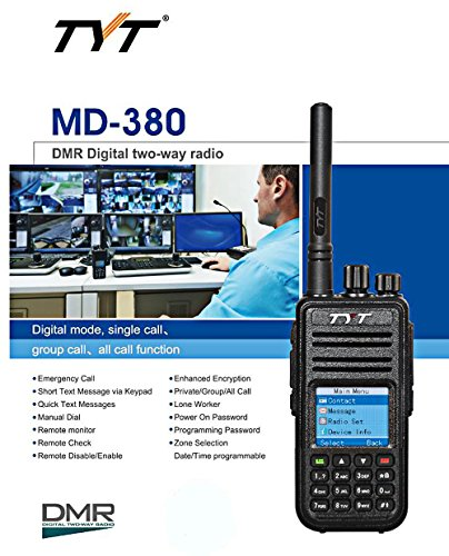GBTIGER TYT MD - 380 DMR Portable Walkie Talkie, Digital Radio UHF 400 - 480MHz, Up to 1000 Channels with Colorful LCD Display Programming Cable and 2 Antenna by TYT (Image #4)
