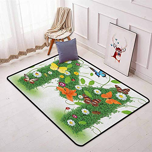 Letter M Regional Round Carpet Wildflowers with Butterflies of Various Shapes and Sizes Vibrant Color Image Non-Slip Easy to Clean W31.5 x L59 Inch Green Multicolor