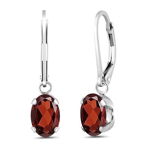 Gem Stone King 925 Sterling Silver Oval Red Garnet Gemstone Birthstone Women s Earrings 2.80 Cttw, 8X6MM Oval