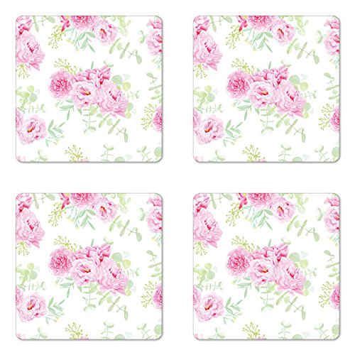 Lunarable Shabby Chic Coaster Set of Four, Serenity Garden Theme with Pastel Colored Peonies and Green Leaves, Square Hardboard Gloss Coasters for Drinks, Pale Pink Pale Green