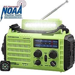 AM/FM/SW Baustellenradio Kurbelradio, Tragbares 5-Wege Wetter Radio mit Solar,Dynamo Handkurbel,Power Bank,LED Camping…