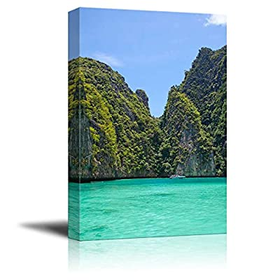 Beautiful Landscape Cliff and The Clear Sea Phi Phi Leh South of Thailand - Canvas Art Wall Art - 18
