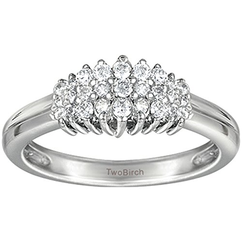 (TwoBirch 0.45 ct. Cubic Zirconia Alternating Baguette and Round Stone Wedding Ring in Sterling Silver (1/2 ct. twt.))