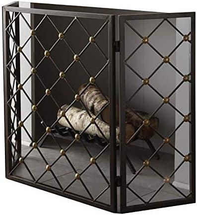 暖炉スクリーン MYL 真鍮トーンスタッド、オープン火災/ガス火災のための折りたたみフラット火スクリーンスパークガード/ログウッドバーナーブラック3パネルダイヤモンドパターン暖炉スクリーン (Color : Black)