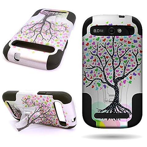 ZTE Warp Sync N9515 (Love Tree) Hybrid Phone Case by CoverON [Dual Defense] Series Impact Protector Design (Zte Warp Sync Rubber Phone Case)