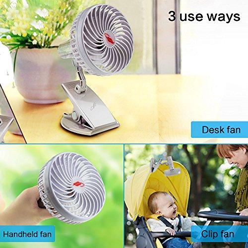 Lingsfire Mini Clip Fan Rechargeable Silent Portable USB Fan