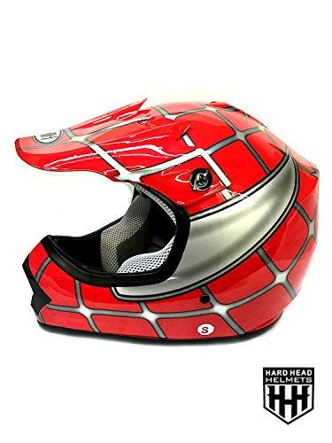 SmartDealsNow DOT Youth & Kids Helmet for Dirtbike ATV Motocross MX Offroad Motorcyle Street bike Flat Matte Black Helmet (Medium, Red Net)