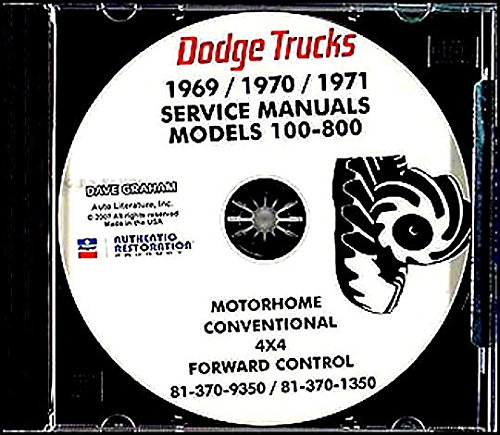 THE ABSOLUTE BEST 1969 1970 1971 DODGE TRUCK & PICKUP REPAIR SHOP & SERVICE MANUAL CD INCLUDES Gas & Diesel 100, 200, 300, 400, 500, 600, 800, W100, W200, W300, W400, W500 Power Wagon, Forward Control, Conventional