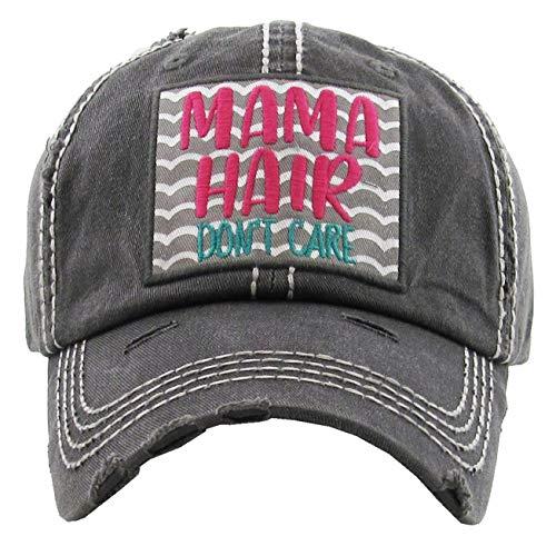 (H-212-MHDC06 Distressed Baseball Cap Vintage Dad Hat - Mama Hair Don't Care (Black))