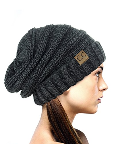 NYFASHION101 Oversized Baggy Slouchy Thick Winter Beanie Hat, Black/Gray Mix