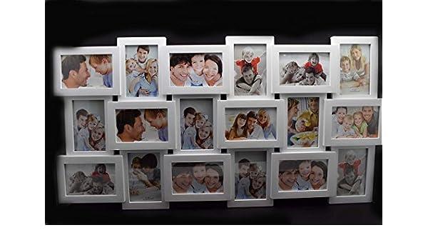 MARCO DE FOTOS, PORTARETRATOS PARA 18 FOTOS BLANCO GALERÍA DE FOTOS COLLAGE MARCO FAMILIA: Amazon.es: Hogar