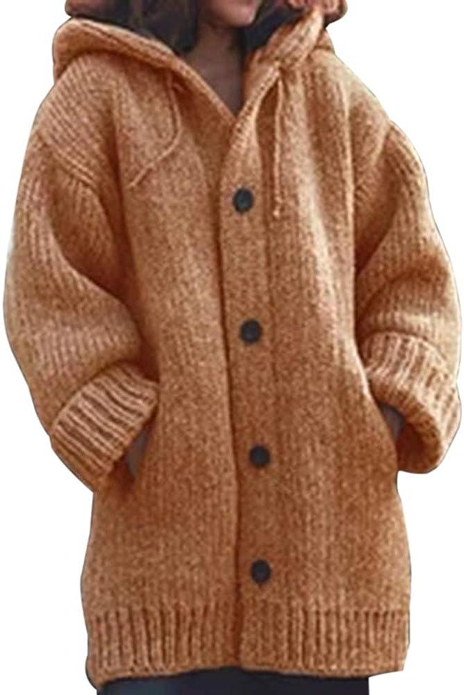 CNFIO Gilet Long Femme Cardigan Femmes Pull Outwear Gilet Hiver Femme Chaud Tricot/é Sweaters avec Poches