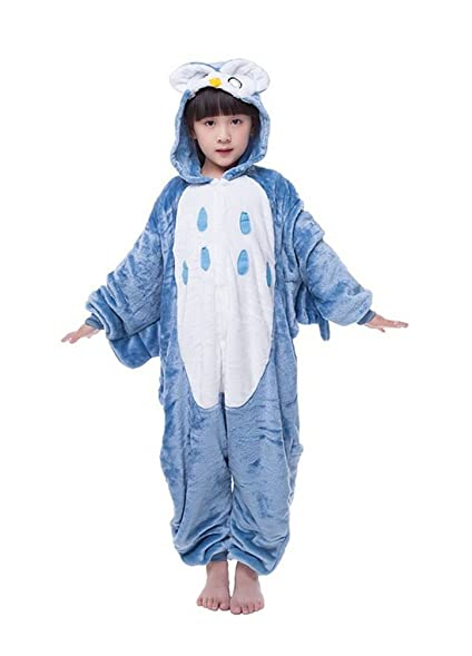 Unisex Children Pyjamas Kigurumi Halloween Onesie Owl Costume(Blue,100)