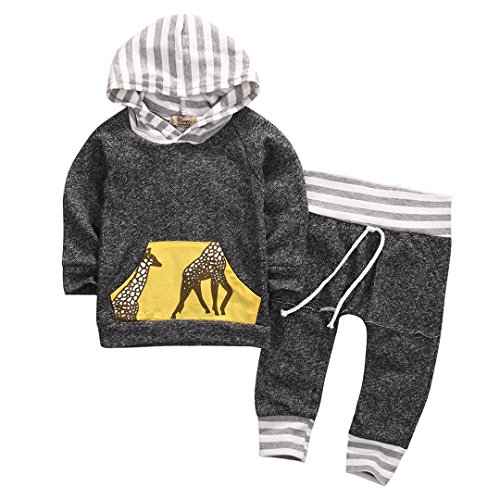 Hoodie Deer Kids Costumes (2pcs Baby Boys Girls Hooded Sweatshirt Deer Pocket Top Pants Jumpsuit Home Outfits Costume (12-18 Months, Grey))