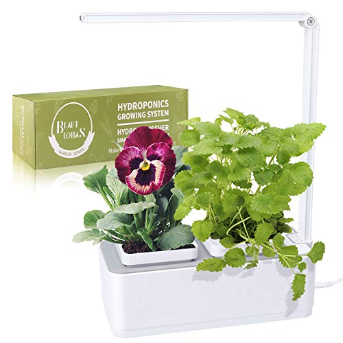 Indoor Herb Garden, BEAUTLOHAS. Hydroponics Growing System with Timer Function & 2 Self-Watering Garden Pots, LED Grow Light for Flower/Fruit/Vegetable, Smart Garden Kit for Home/Room/Kitchen/Office (Fresh Herb Container Garden)