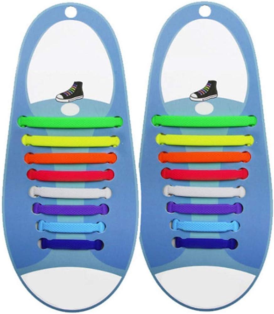 PIPIHUA No Tie Lacets pour les enfants et adultes Imperm/éables Silicon Flat /élastiques Lacets de sport course de chaussures pour Shoes Sneaker Conseil Bottes et Souliers