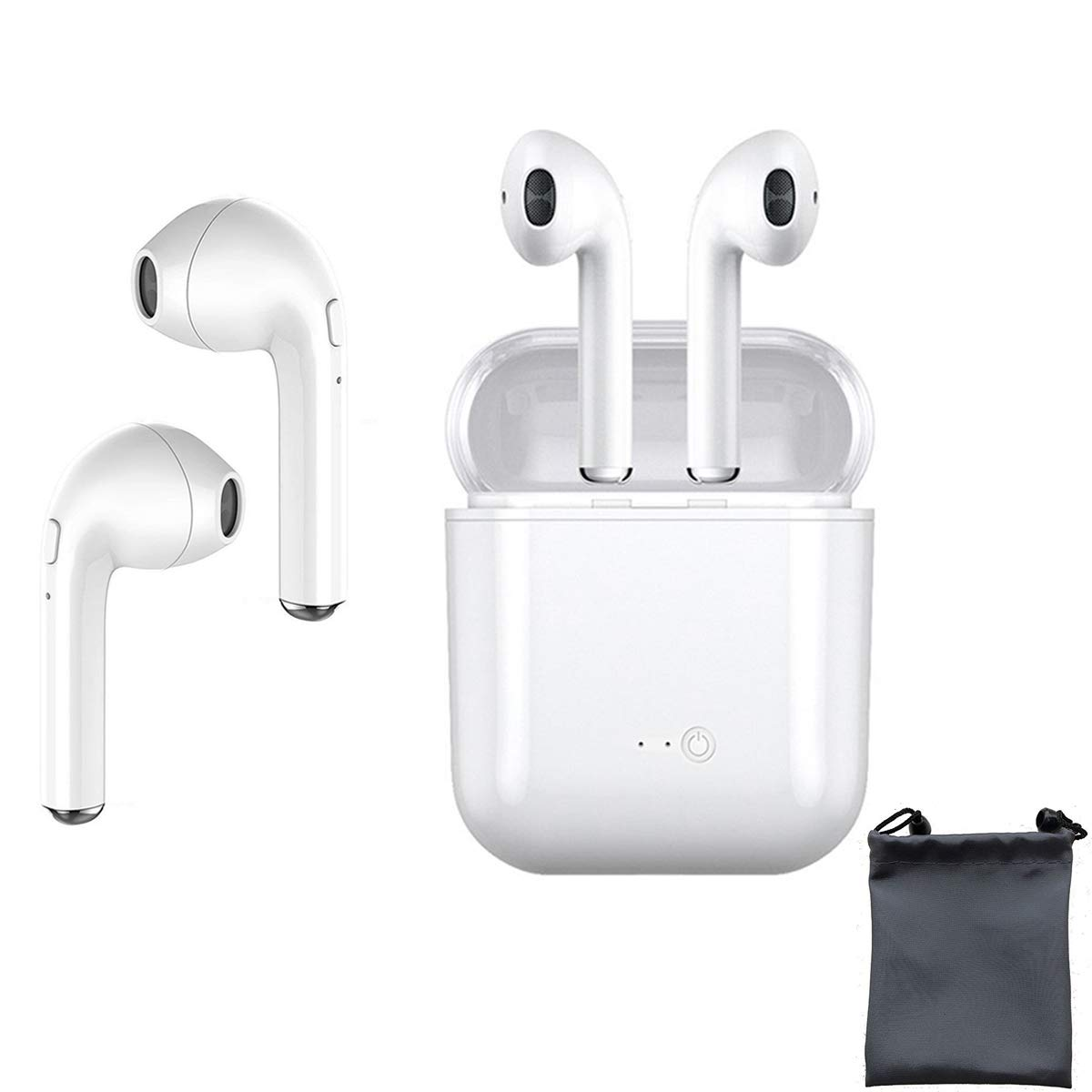 TJSDAN Bluetooth Headset, Wireless Headphones Sports Headphones with Noise Reduction Headphones, Microphone with Microphone, Mini in-Ear Earphones, Earphones, Sweat-Proof Sports Earphones