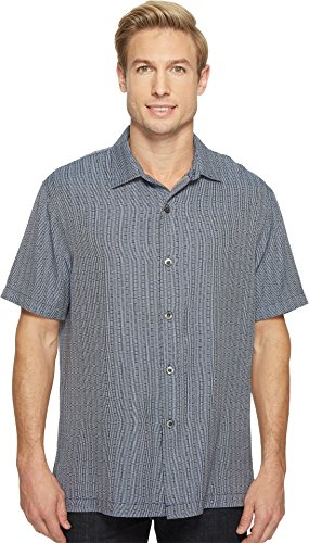 Tommy Bahama Men's Geo Getaway Camp Shirt Ocean Deep Small