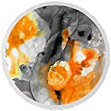 Pixels Round Beach Towel With Tassels featuring ''Orange Abstract Art - Iced Tangerine - By Sharon Cummings'' by Sharon Cummings