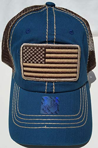 Honor Country USA American Flag Baseball Cap Black - Turquoise Teal