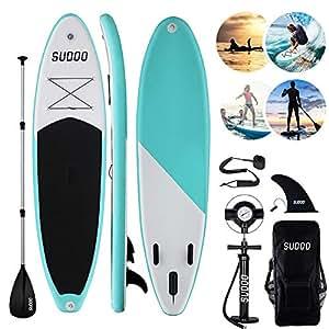 Triclicks Tabla Hinchable Paddle Surf/Sup Paddel Surf dacon Bomba, Mochila, Aleta Central Desprendible, Kit de Reparación, Remo Ajustable, La Cinta ...