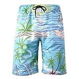 NUWFOR Men's Summer Fashion 3D Printed Shorts Recreational Sports Beach Pants(Blue,US XL Waist:38.98'')