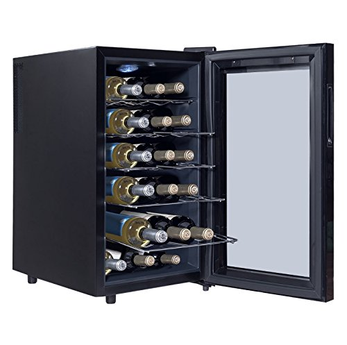 18 Bottles Thermoelectric Wine Cooler Fridge Refrigerator Freestanding Cellar Rack Storage Holder Cabinet Chiller Home Restaurant Kitchen Dining Room Bar Use Low Energy Consumption by HPW