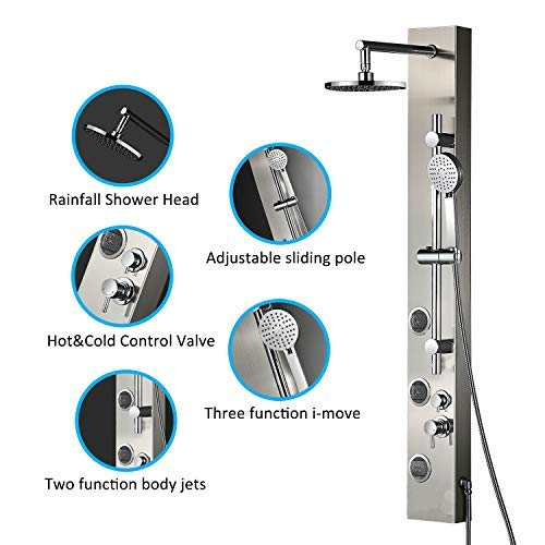 Vantory Shower Panel System Real #304 Stainless Steel Wall Mount,Rainfall,Multi-functional Massages Spray Jets,with 3-Function Hand Shower,Adjustable sliding pole,Tub Spout