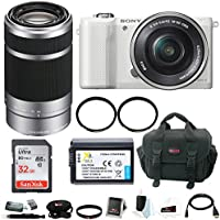 Sony Alpha a5000 Mirrorless Camera (White) w/ 55-210mm f/4.5-6.3 Lens (Silver) & 32GB SD Card Bundle