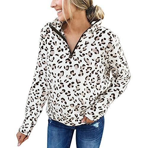 Vielone_She VIELONE Women Teen Girls Leopard Fleece Sweatshirt, Cheetah Print Pullover Sweater Oversized Sherpa Outerwear Pieced Jacket, Plus Size