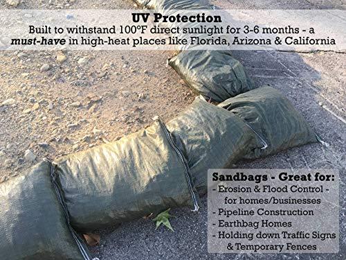 Sandbaggy - Empty Poly Sandbags W/ UV Protection - Size: 14'' x 26'' - Color: Green - Military Grade (500 Bags) (Renewed) by Sandbaggy (Image #4)