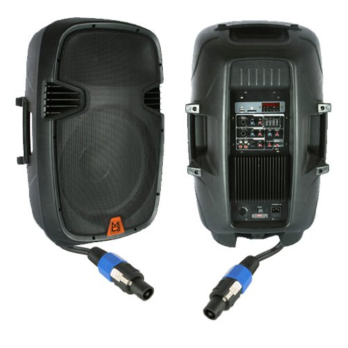 Mr. DJ PBX-2110PKG 2 Way Full Range Speaker System Package with MP3/FM Radio/USB/SD Card Slot Controls, 12 Inch Works with all DJ Equipment
