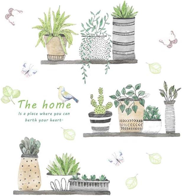 Creativas de la pared plantas verdes delicados Pegatinas de pared desmontable de la etiqueta autoadhesiva para la etiqueta engomada decoración del hogar